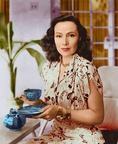Dolores Del Rio enjoying a spot of tea.