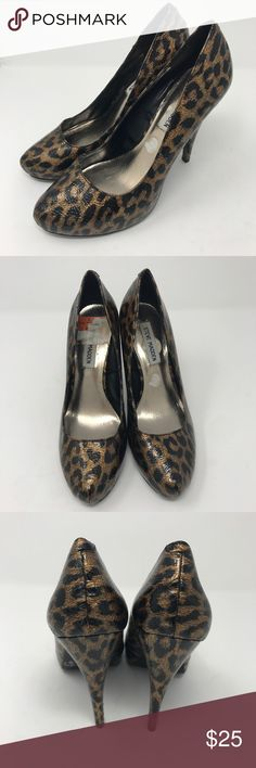 Steve Madden Leopard Heels Steve Madden leopard/cheetah heels. Size 7. Man made materials. 4 inch heel. Good condition, some stickers on the insole. Open to offers and 30% off bundles! Steve Madden Shoes Heels