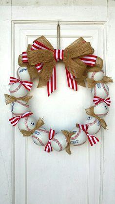 Baseball Wreath - Perfect baseball decor for the avid fan! Made with REAL baseballs! Coach's Gifts- MLB- Softball- Baseball Team - Lilly is Love Baseball Wreaths, Baseball Crafts, Sports Wreaths, Baseball Party, Baseball Mom, Baseball Scoreboard, Baseball Girlfriend, Baseball Birthday, Wreath Crafts