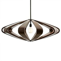 The Remus Pendant features a saucer silhouette, a mid-century icon, that is warmed up when interpreted in shaped mango ribs and stained a deep walnut. This single light fixture from Arteriors gets plenty of exposed space to shine and create dramatic shadows on the walls and floor. For added drama, use a nostalgic thread bulb as shown in the photo.