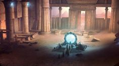 fantasy landscapes rocks Stargate fantasy art Stargate SG-1 science fiction temples wallpaper background
