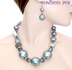 $14.99 Free Shipping Chunky Blue Silver Pearl Rhinestone Necklace Earring Set Costume Jewelry | eBay