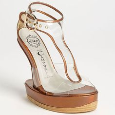 "6c6043d8f56 Jeffrey Campbell ""Incline"" Heel-Less Platform T-Strap Sandals Funky Shoes"