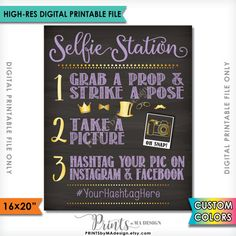 Selfie Station Photo Booth Printable Chalkboard Photo Board Sign -- Ask guests to take a photo and share it with your hashtag on Instagram and