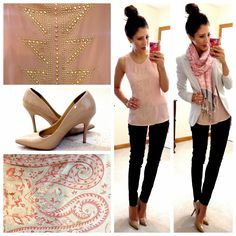 blush top / light grey or Ivory blazer / black slim pants / Nude pumps/ Scarf // Hello, Gorgeous!