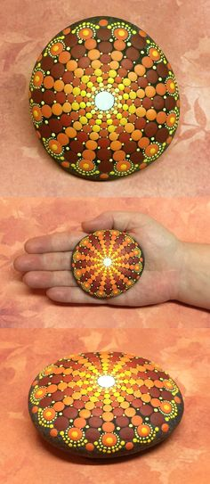 Mandala Stone by Kimberly Vallee: Hand painted with acrylic and protected with a…