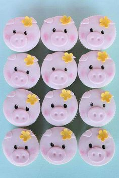 Pig Cupcakes Cupcakes with pig cake pops on top. Piggy Cupcakes, Piggy Cake, Animal Cupcakes, Fun Cupcakes, Cupcake Cookies, Valentine Cupcakes, Birthday Cupcakes, Fondant Toppers, Cupcake Toppers