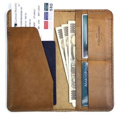 Leather Travel Wallet / Leather Passport Wallet - The Kindergarten Co. (€94) ❤ liked on Polyvore featuring bags, wallets, fillers, accessories, other, brown leather bag, genuine leather wallet, real leather wallets, brown bag and travel bag