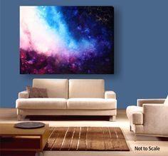 """Unique Fluid Huge Abstract Painting. Free Shipping.Contemporary Blue andRed. By Igor Turovskiy """"Platinum Galaxy"""". $1,300.00, via Etsy."""
