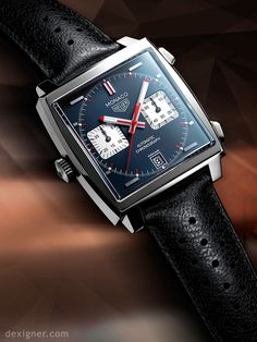 The complete story of the iconic Heuer Monaco chronograph from ref. 1133 launched in 1969 to the modern TAG Heuer Monaco models. Dream Watches, Fine Watches, Sport Watches, Luxury Watches, Cool Watches, Watches For Men, Men's Watches, Tag Heuer Monaco, Gentleman Watch