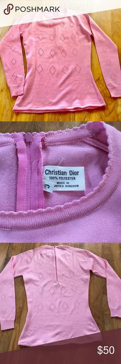 Vintage Christian Dior. Long sleeve blouse. 100% polyester. Fits as a M/L. Stretchy material. Christian Dior Tops Blouses