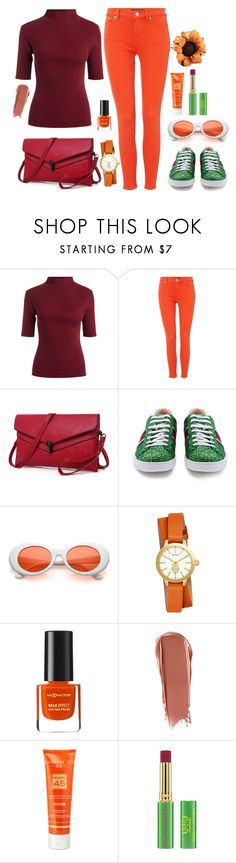"""Без названия #2536"" by dark-nice-snow ❤ liked on Polyvore featuring Lauren Ralph Lauren, Gucci, Tory Burch, Max Factor, NARS Cosmetics, Hampton Sun and Tata Harper"