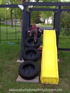Exploring Domesticity: Swing Set Tire Ladder - like the idea of a tire ladder For the deck playland