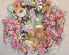 Gingerbread Sugar N' Spice Christmas Cookies Wreath Peppermint Candy Cupcake Candy Land Christmas, Christmas Gingerbread, Pink Christmas, Christmas Themes, Christmas Cookies, Christmas Holidays, Gingerbread Houses, Gingerbread Cookies, Christmas Tree Wreath