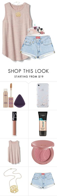"""""""Random set but it's literally 70° in February"""" by artsydoglovergabs ❤ liked on Polyvore featuring tarte, Kate Spade, NARS Cosmetics, L'Oréal Paris, Gap, Jennifer Zeuner and adidas"""