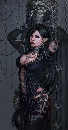 Dark Elf by dandelion-s on DeviantArt Dark Fantasy Art, Fantasy Girl, Fantasy Kunst, Fantasy Art Women, Fantasy Warrior, Anime Fantasy, Fantasy Artwork, Warrior Angel, Fantasy Comics