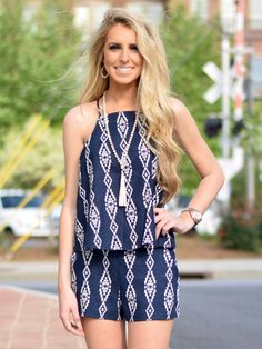 Navy Blue Aztec Shorts - $28.99 : FashionCupcake, Designer Clothing, Accessories, and Gifts