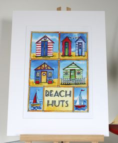 Retro Seaside Beach Huts digital print from an original ink and watercolour painting by Sharon Hall.