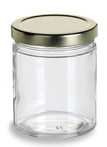 Specialty Bottle - 6 oz Clear Straight Sided Glass Jar with Gold Lid, $0.99 (http://www.specialtybottle.com/glass-jars/clear-straight-sided/short-metal-lid/6oz-ss6tl)