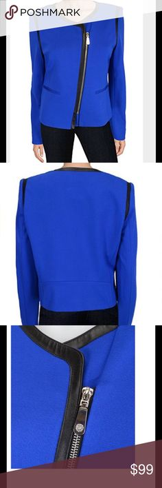 Vince Camuto Faux Leather Trim Moto Jacket EUC with minimal to no signs of wear. Emperor blue is the color. It has black faux leather trim around neck and arm holes. Asymmetrical front zipper and 2 slit front pockets still stitched closed. This jacket is fully lined. Shell is 69% rayon, 26% nylon, 5% spandex (exclusive of faux leather trim); lining is 100% polyester. Dry clean only. Vince Camuto Jackets & Coats Blazers