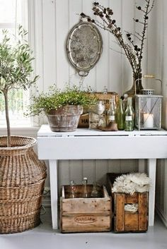 VIBEKE DESIGN: love the living green plants added to this display. Country Decor, Rustic Decor, Farmhouse Decor, Country Living, Rustic Entryway, Country Casual, Country Charm, Country Homes, Rustic Table