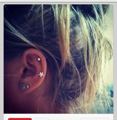 Since my cartilage wasn't pierced right, it was pierced too high, the double cartilage would be good like this.