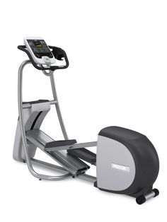 """Precor EFX 532i Commercial Series Elliptical Trainer. Commercial Series elliptical trainer with motorized CrossRamp technology and fixed handlebars. Built-in touch sensor for heart rate monitoring and Polar compatible 5 KHz wireless chest strap transmitter monitoring. 6 preset workouts: Manual, Interval, Weight Loss, Heart Rate Control, Gluteal, Cross Training. Measures 84""""L x 31""""W x 66.5""""H; weighs 245 pounds. Lifetime warranty on frame and welds, 10-years on parts and wear items."""