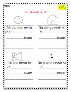 Comprehension strategies that good readers use when they read according to Mosaic of Thought.  Many great graphic organizers like this one for making CONNECTIONS (to the character, to the setting, to the problem)