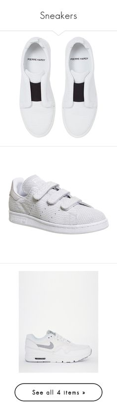"""""""Sneakers"""" by zeynepkartal on Polyvore featuring shoes, sneakers, pierre hardy shoes, white shoes, rubber sole shoes, pierre hardy sneakers, white trainers, trainers, triple white ve unisex sports"""