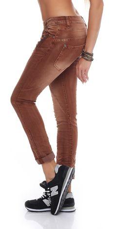 SKUTARI Damen - Jeans Boyfriend Stretch Denim Zip-Taschen – Bild 2
