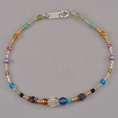 "Holly Yashi Sonoma Glass Bead Anklet - Prism.  Hand crafted Bohemian glass bead anklet. Sterling silver clasp. Anklet measures 9 1/2"" long."
