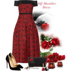 Off Shoulder Dress by lorrainekeenan on Polyvore featuring J. Mendel, Christian Louboutin, Steve Madden and Baccarat