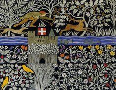 The Huntsman textile design by CFA Voysey, 1919