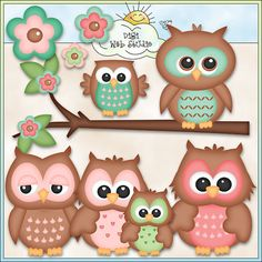 Cute Owls 2 - Digi Web Studio Clip Art Download by Kristi W. Designs for Personal & Commercial Use