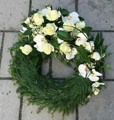 Flower Wreath Funeral, Funeral Flowers, Casket Sprays, Funeral Flower Arrangements, Flower Basket, Summer Wreath, Grapevine Wreath, Grape Vines, Projects To Try