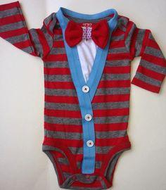 Baby Boy onesie cardigan Modern Preppy look