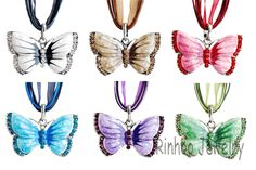 Boho Jewelry Butterfly Pendant Necklace 6 Colors Rhinestone Braided Rope alloy Necklace for Women Crystal Butterfly pendant