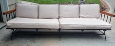 Mid Century Modern Selrite Iron Wood Frame Long Sofa by gremlina on Etsy