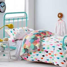 Adairs Kids Girls Raindrop Confetti - Bedroom Quilt Covers & Coverlets - Adairs Kids online Olivia's pick - fits her brief of colourful and rainbows haha Kids Bed Sheets, Kids Bedding Sets, Girl Bedding, Comforter Sets, Toddler Bedding Girl, Adairs Bedding, Bedding Decor, Queen Bedding, Boho Bedding