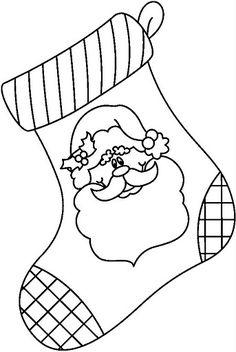Santa stocking Christmas coloring page. Christmas Stencils, Christmas Templates, Christmas Clipart, Christmas Printables, Christmas Colors, Christmas Fun, Coloring Pages For Kids, Coloring Books, Colouring