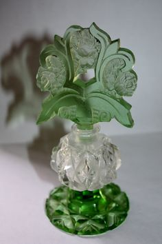 RosamariaGFrangini | Antique Perfume Bottle | Art Deco Green Glass Perfume Bottle