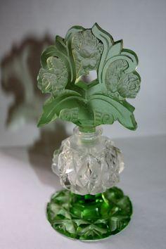 Czech Perfume Bottle Green Cut Glass 1920s