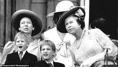 Official duty: Queen Elizabeth II, Princess Margaret, Prince William and Prince Harry on balcony at Buckingham Palace