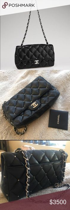 244f9fb24d0337 AUTHENTIC CHANEL black quilted studded bag AUTHENTIC CHANEL quilted studded  flap bag Lambskin with diamond quilt design H: 6 L: 10 Flat exterior pocket  ...