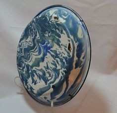 Hey, I found this really awesome Etsy listing at https://www.etsy.com/listing/218405006/granite-ware-pie-pan-blue-swirl-with