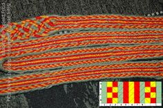 A simple tablet woven pattern creating stripwa turning all the tablets forwards.