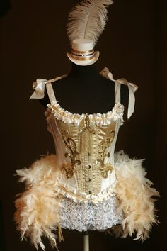 H-ween: The little hat kills me! OLYMPIAN White Gold Burlesque Corset Costume FEATURED in COSMOPOLITAN. $165.00, via Etsy.