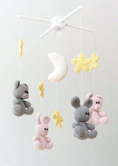 Mesmerizing Crochet an Amigurumi Rabbit Ideas. Lovely Crochet an Amigurumi Rabbit Ideas. Crochet Baby Mobiles, Crochet Mobile, Crochet Baby Toys, Crochet Bear, Crochet Books, Crochet Patterns Amigurumi, Cute Crochet, Crochet For Kids, Crochet Crafts