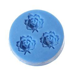 MOULE EN SILICONE ROND BLEU MOTIF 3 ROSES 4.5 CM : Modelage, Poterie et Moulage par breloques-et-bijoux