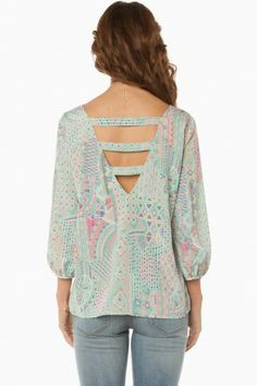 Besso Blouse in Mint - pretty cutout in back!